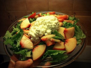 low oxalate cottage cheese and peach salad