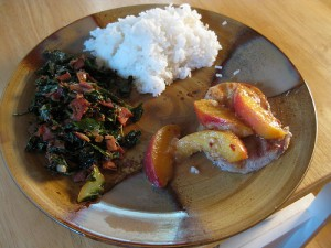 Low oxalate greens served with peach covered pork chops and rice