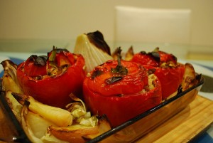 vegan stuffed red peppers