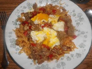 skillet breakfast with rutabaga hash browns